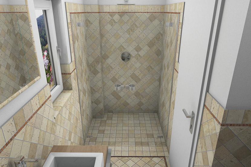 design idee cad planung f r ein bad mit terracotta fliesen. Black Bedroom Furniture Sets. Home Design Ideas