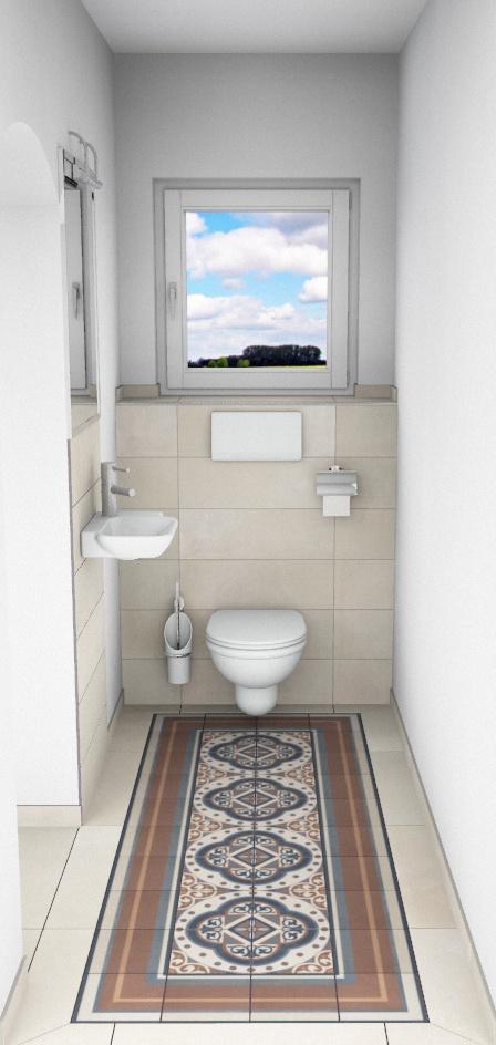 CAD-Plan für ein Bad mit Villeroy & Boch Century Fliesen - Sicht auf WC
