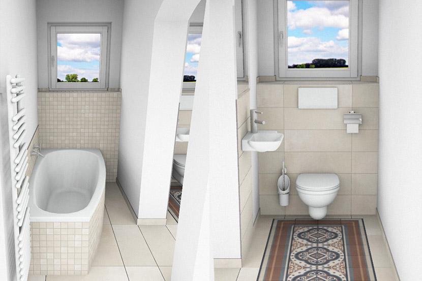 CAD-Plan für ein Bad mit Villeroy & Boch Century Fliesen - Sicht auf Wanne und WC