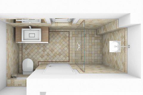 CAD-Plan für ein Bad mit Terrracotta-Fliesen - Draufsicht