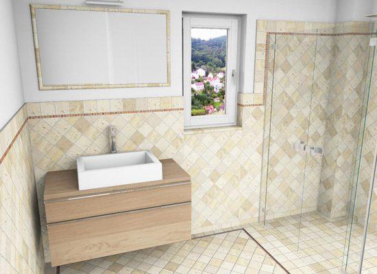 CAD-Plan für ein Bad mit Terracotta-Fliesen