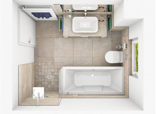 CAD-Plan für ein Bad mit Naturstein-Fliesen Draufsicht