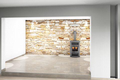 CAD-Plan für Wohnzimmer inklusive Marmor-Fliesen und Kamin